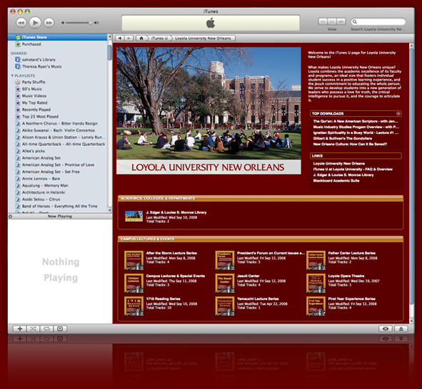 Screenshot of Loyola University New Orleans on iTunes U